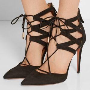 Aquazzura Belgravia Black Suede Lace Up Heels